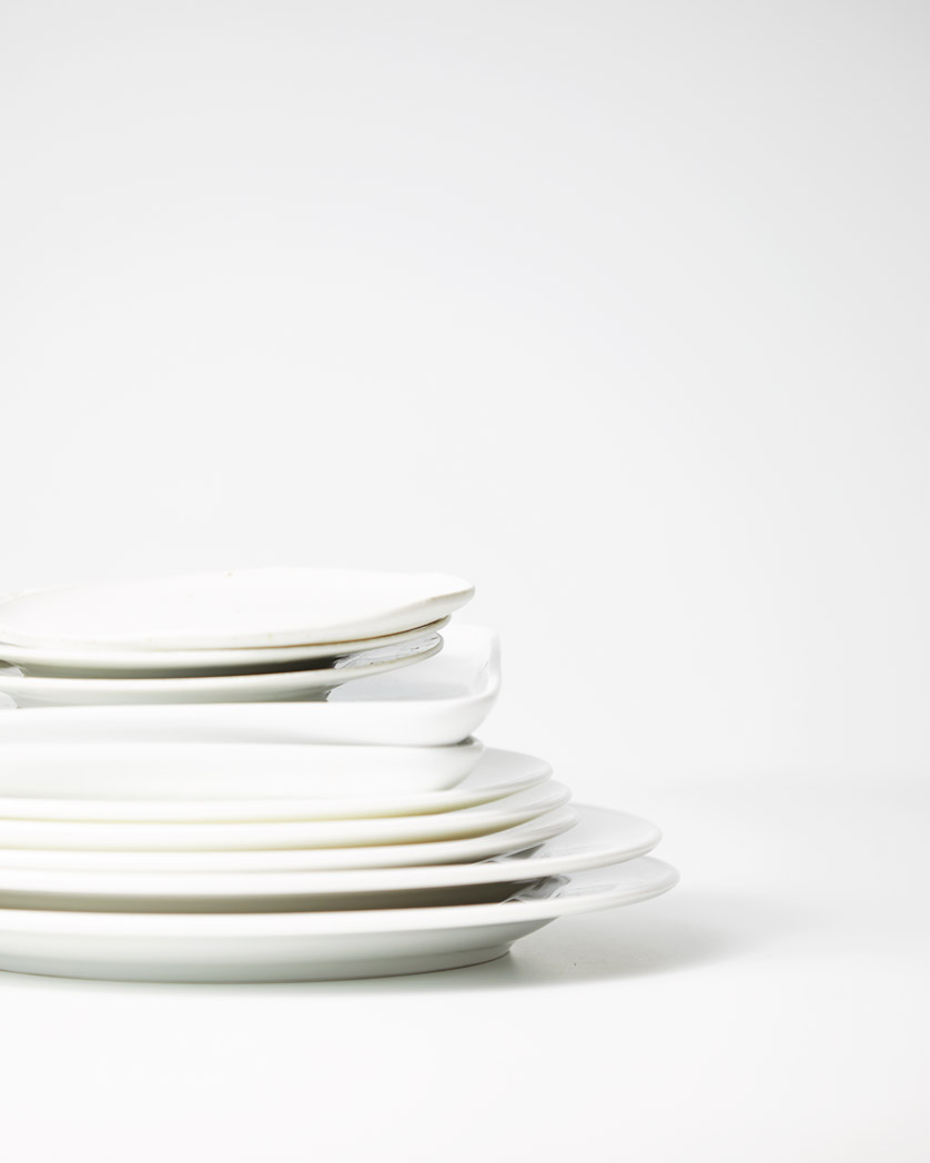 Selection of white plates for photography props